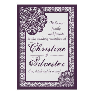 Arabesque Purple Lace, reception welcome poster