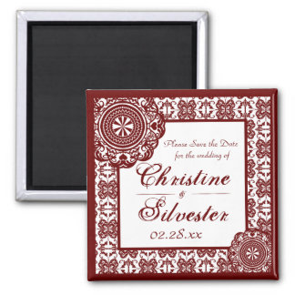 Arabesque Red Lace, square save the date 2 Inch Square Magnet