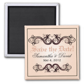 Arabesque Save the Date (blush pink) 2 Inch Square Magnet