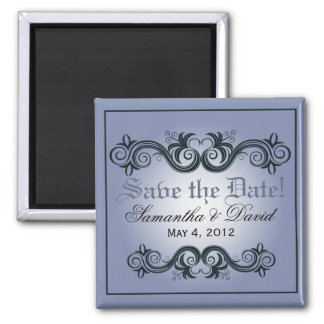 Arabesque Save the Date (periwinkle blue) 2 Inch Square Magnet