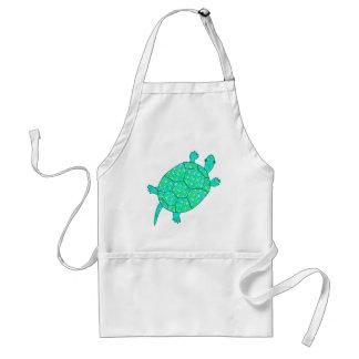 Arabesque swirl turtle - shades of seafoam green adult apron