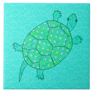 Arabesque swirl turtle - shades of seafoam green ceramic tile