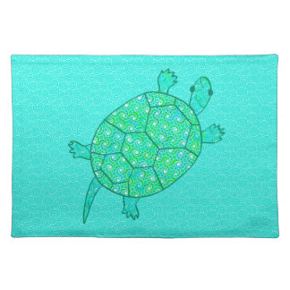 Arabesque swirl turtle - shades of seafoam green cloth placemat