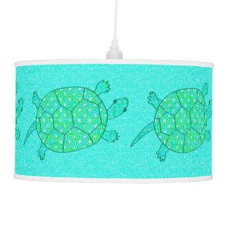 Arabesque swirl turtle - shades of seafoam green pendant lamps