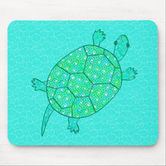 Arabesque swirl turtle - shades of seafoam green mouse pad