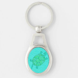 Arabesque swirl turtle - shades of seafoam green Silver-Colored oval metal keychain