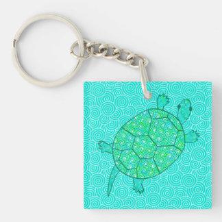 Arabesque swirl turtle - shades of seafoam green Single-Sided square acrylic keychain