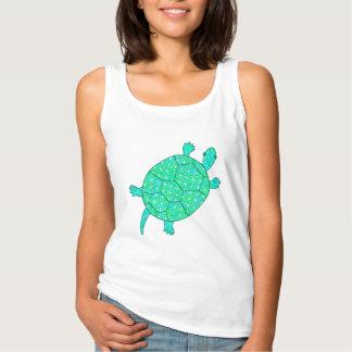 Arabesque swirl turtle - shades of seafoam green tank top