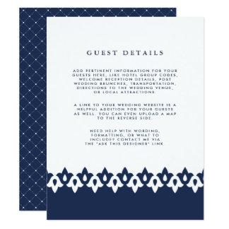 Arabesque Wedding Guest Details Card | Navy