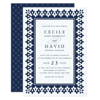 Arabesque Wedding Invitation | Navy