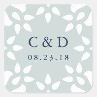 Arabesque Wedding Monogram Sticker | Mist