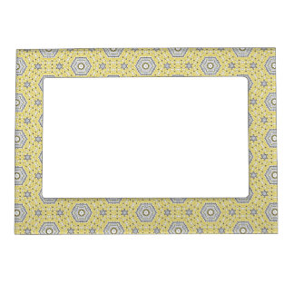 Arabesque yellow gray pattern magnetic frame