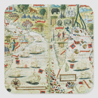 Arabia and India, from the 'Miller Atlas', c.1519 Square Sticker