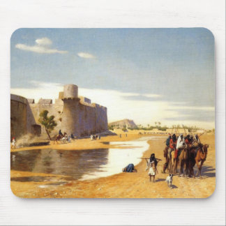 Arabian caravan who comes out of Egypt town Mouse Pad
