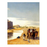 Arabian caravan who comes out of Egypt town Post Card