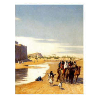 Arabian caravan who comes out of Egypt town Postcard