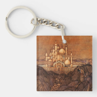 Arabian Edmund Dulac Dome Minaret Orange Vintage Keychain