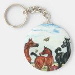 arabian foals in summer keychain