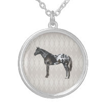 Arabian Horse Illustrated on Teal Pattern Silver Plated Necklace