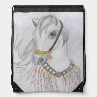 Arabian Horse in Indian Costume in Color Pencil Drawstring Backpack