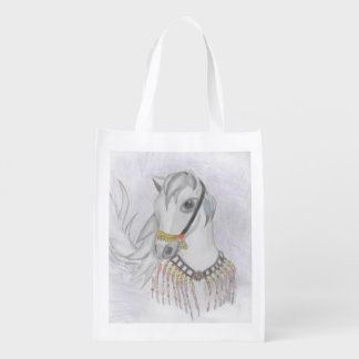 Arabian Horse in Indian Costume in Color Pencil Grocery Bag
