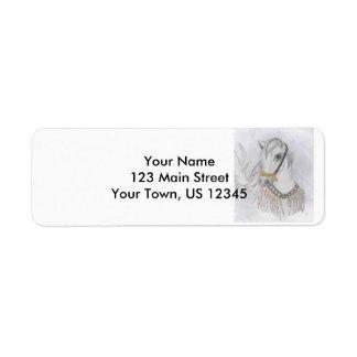 Arabian Horse in Indian Costume in Color Pencil Return Address Label