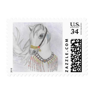 Arabian Horse in Indian Costume in Color Pencil Stamp