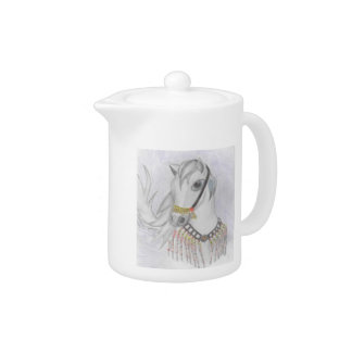 Arabian Horse in Indian Costume in Color Pencil Teapot