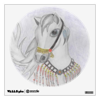 Arabian Horse in Indian Costume in Color Pencil Room Graphic
