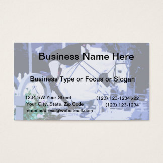 arabian horse jumping blue posterized business card