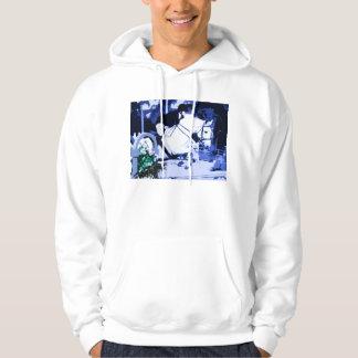 arabian horse jumping blue posterized hooded sweatshirt