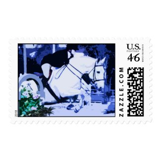 arabian horse jumping blue posterized postage stamp