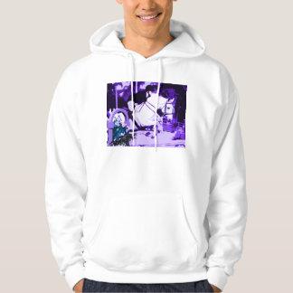arabian horse jumping purple posterized hooded sweatshirt