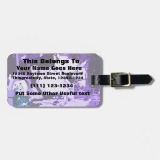 arabian horse jumping purple posterized luggage tag