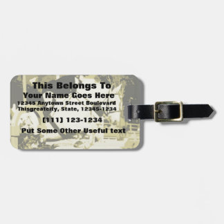 arabian horse jumping sepia posterized bag tag