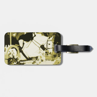 arabian horse jumping sepia posterized luggage tag