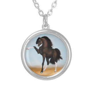 Arabian Horse Passion Brown Silver Plated Necklace