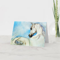 Arabian Horse Portrait In Blue Blank Greeting Card