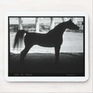 Arabian Horse Silhouette Black and White Mouse Pad