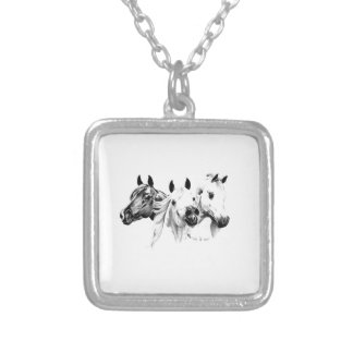 Arabian Horses Silver Plated Necklace
