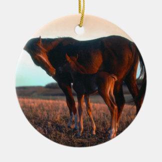 Arabian mare and colt ceramic ornament