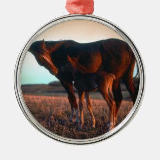 Arabian mare and colt metal ornament
