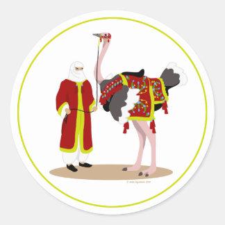 Arabian Native Costume Ostrich Classic Round Sticker