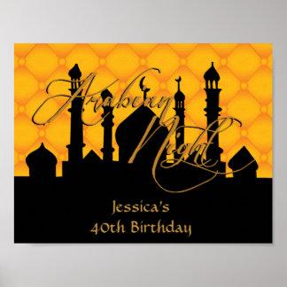 Arabian Night, Gold Birthday Party Poster