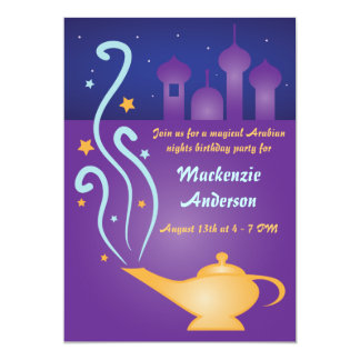 "Arabian Nights 2 Magic Lamp Invitations 5"" X 7"" Invitation Card"