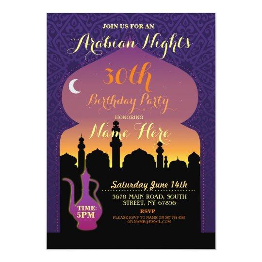 Arabian Nights Birthday Party Any Age 30th Invite Zazzlecom
