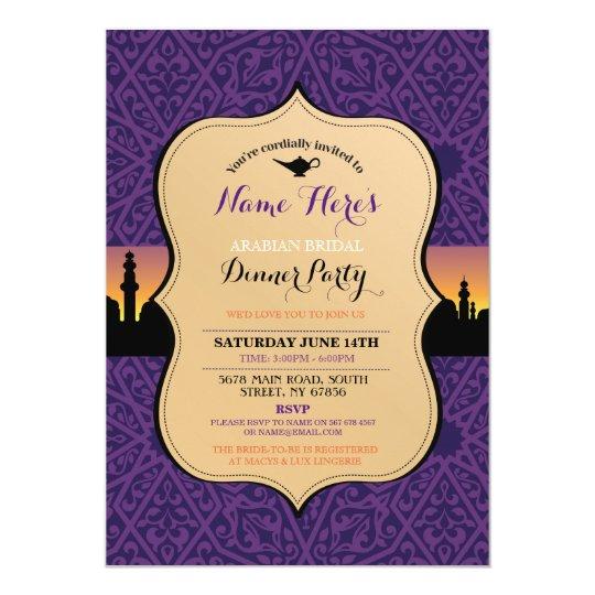 arabian nights bridal shower dinner party invite