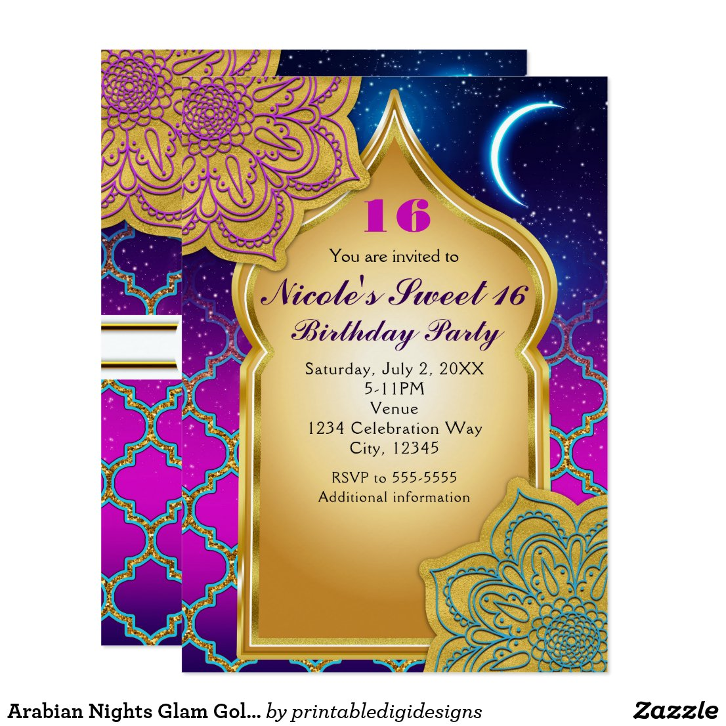 Arabian Nights Glam Gold Purple Birthday Party Invitation