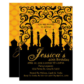 Arabian Nights, Gold Birthday Invitations