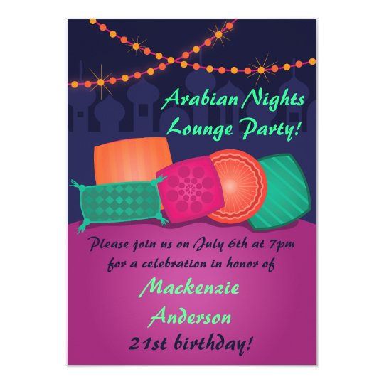 Arabian Nights Lounge Party Invitation Zazzlecom